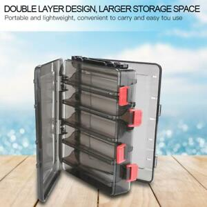 Double-side Solid Fishing Lure Bait Tackle Case Storage Box with 10 Compartments