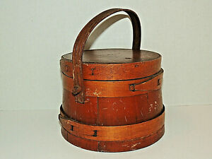 Vintage Primitive Round Bent Wood Shaker Box w/ Lid, Handle, Pantry, Storage