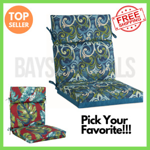 Foldable Tropical Outdoor Damask Reversible Dining Patio Office Chair Cushion