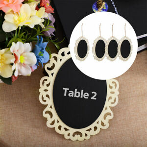 Wood Mini Chalkboard Signs Tags with Hanging Rope Oval for Memo Message Board