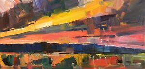 JOSE TRUJILLO Oil Painting Desert ARIZONA Sky Copper Colors Clouds Red Orange