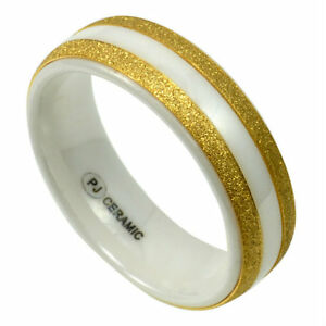 White CERAMIC RING with Brushed Gold Accent Bands in size 13 in Gift Box