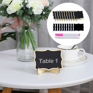 Mini Wood Chalkboard Tag with Easel Stand and Pens for Message Board Sign