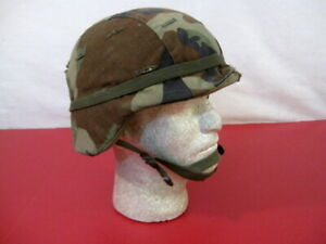 US Army PASGT Ground Troop Helmet made w/Kevlar w/Woodland Camo Cover - Small #1