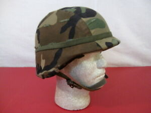 US Army PASGT Ground Troop Helmet made with Kevlar w/Woodland Camo Cover - Lg #3