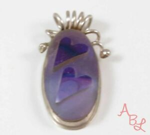 S Moser Sterling Silver Vintage 925 Hearts 05' Dichroic Pendant (12g) - 772337