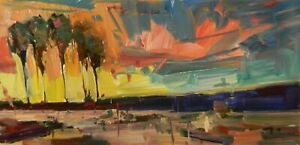 JOSE TRUJILLO Desert Palm Trees Landscape Impressionism Sunset OIL PAINTING