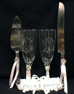 NEW Beauty and the Beast Disney Wedding Gift Lot Glasses, Knife Server Set