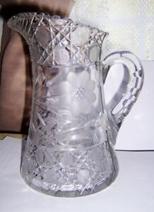 Antique American Brilliant Period Cut Glass Pitcher cane with flowers 8 1/2 inch