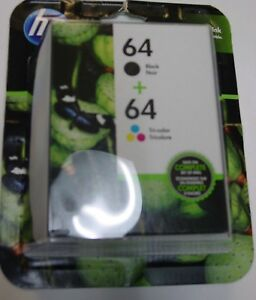 Genuine HP 64 Black and Tri-Color Ink Cartridges Combo-Pack - Exp 12/2019 - NEW