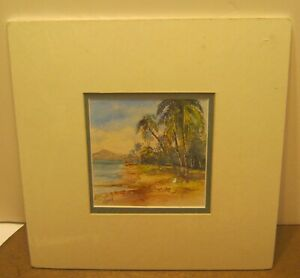 Lovely Watercolor Seascape Painting by CAROL SEBOLD Double Matted In Shrink $75.00