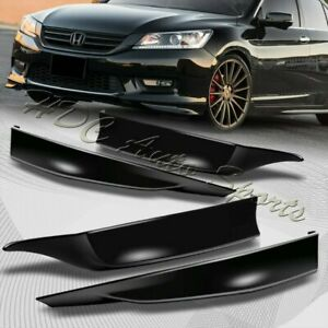 For 2013-2015 Honda Accord 4-DR HFP-Style BLK Front+Rear Bumper Spoiler Lip 4pc