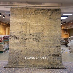 Yilong 8x10ft Thick hand knotted wool carpet Nice Woollen rug Modern Design P07