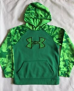 Under Armour Boy's Youth M Hoodie Green Camo Fuzzy Logo Loose Fit STORM
