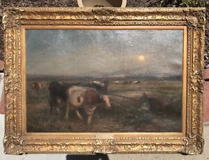 Rare Antique Original Cows  Oil Painting Hudson River School Style Titled