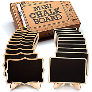 Mini Chalkboard Signs 20 Pack Framed Small Labels W Easel Stand Wooden Blackboar