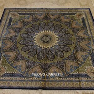 Yilong 8'x8' Blue Square Handmade Silk Rug Dome Design Home Decor Carpet Z353A