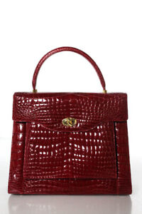 Designer Red Alligator Gold Tone Structured Satchel Handbag New $8185