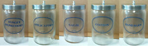 Old Tech-Med Glass Medical Apothecary Lidded Jar, YOUR CHOICE Many Available