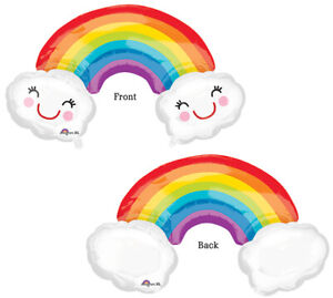 Jumbo 37quot; RAINBOW with Smiley Clouds Birthday Celebrate Get Well Party Balloon