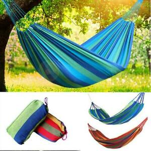 Single Camping Hammock Outdoor Cotton Hanging Rope Swing Bed Lightweight Travel