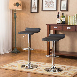 Set of 4 Bar Stool Adjustable Height Leather Counter Swivel Bistro Dining Chair