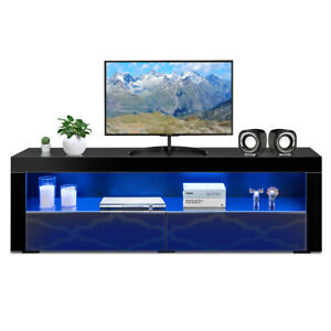 TV Stand Modern High Gloss Media Console Cabinet Entertainment Center wLED