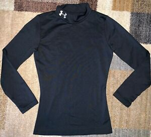 Under Armour Coldgear Boys Mock Neck Fitted Compression Shirt Black Youth Small