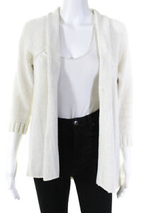 Vince Womens Long Sleeve Open Front Cardigan Sweater Top White Cotton Size Large