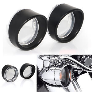 Turn Signal Light Clear Lens Black Bezels Cover Fit for Harley Sportster Softail