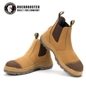 ROCKROOSTER Safety Work Boots Mens Steel Toe Anti-static Slip On Water resistant
