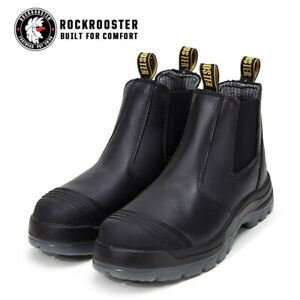 ROCKROOSTER Mens Safety Work Boots Steel Toe Anti-static Slip On Shoes Black US