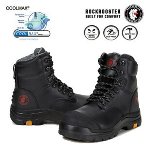ROCKROOSTER Men's Steel Toecap Safety Work Boots Leather Shoes Antistatic EEE US