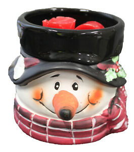 Snowman Ceramic Electric 2in1 Candle Tart Warmer Holiday Christmas Decor