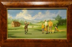 Circa 1920 English School Golf Course Teeing Off Scene Landscape Oil Painting