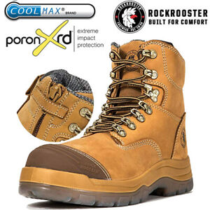 ROCKROOSTER Work Boots For Men Steel Toe Leather Safety Zip Lace Up Shoes USA