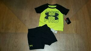 New Under Armour 2pc Set Size 12 Mos Boys Top Shorts Baby Toddler Neon