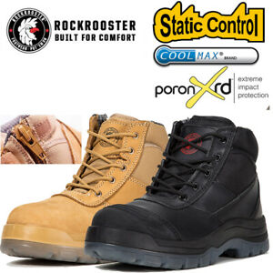ROCKROOSTER Men Steel Toe Safety Work Boots Leather Zip Lace Up Waterproof USA