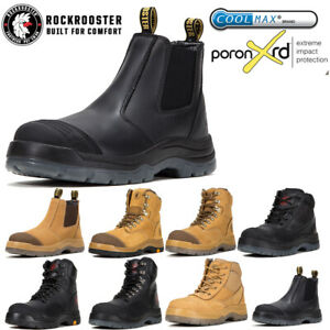 ROCKROOSTER Safety Work Boots For Men Steel Toe Zip Lace Up Anti-static Slip On