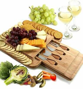 Cavepop Bamboo Charcuterie Cheese Board and Knife Set