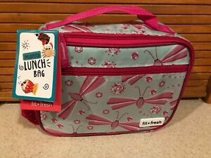 Fit & Fresh Insulated DRAGONFLY Lunch Bag PVC FREE  EASY CLEAN LINING PINK