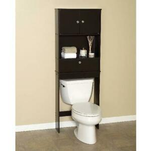 Over The Toilet Bath Storage Shelf Cabinet Space Saver Bathroom Organizer Brown