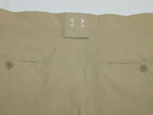 UNDER ARMOUR PERFORMANCE GOLF SHORTS STRETCH SECURE CARGO POCKET BEIGE MEN'S 38