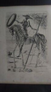 Salvador Dali DON QUIXOTE Signed Etching Framed Collectors Guild Authenticated $150.00