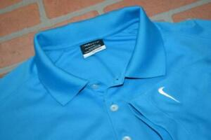 3921-a Mens Nike Golf Polo Shirt Size Large Fit Dry Polyester Blue