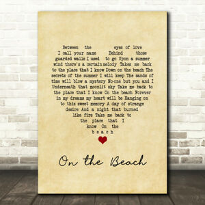 On the Beach Vintage Heart Song Lyric Print