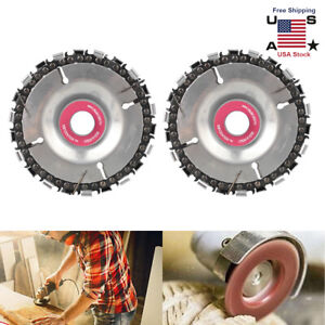 2PC Steel Chain Saw Blade for Wood Carving Cutting Angle Grinder Disc Arbor Tool