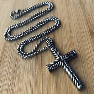 MENDEL Boys Mens Stainless Steel Vintage Cross Pendant Necklace Men Women Silver