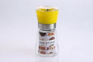 Glass Spice Jar w/ Grinder, Shakers for Pepper Spice Corn Mill