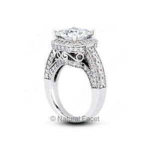 6.07ct D VS1 Radiant Natural Certified Diamonds White Gold Halo Side Stone Ring